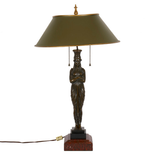 19th Century Egyptian Revival Bronze Figural Lamp with Tole Shade