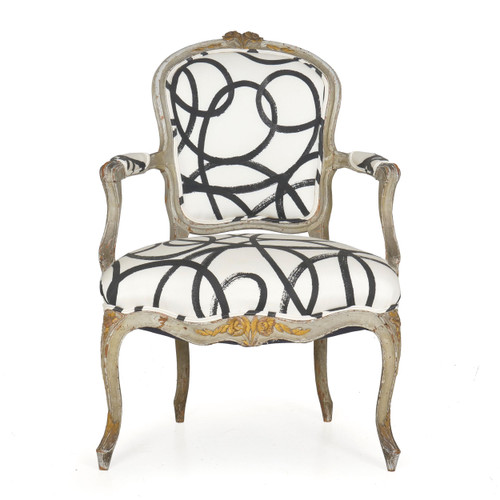 Louis XV Gray Painted Fauteuil, French, 18th Century