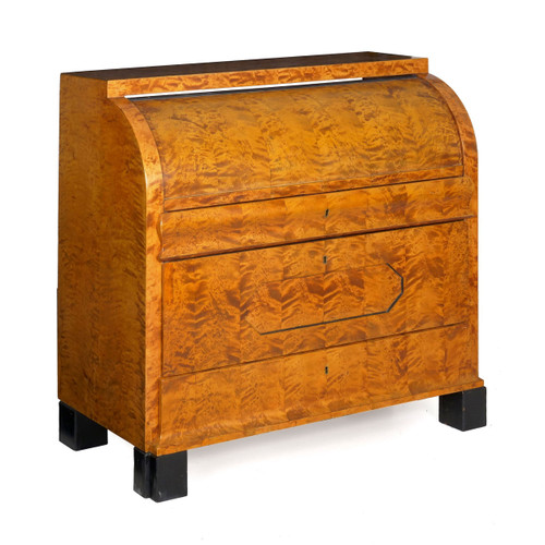 Biedermeier Figured Maple Roll-Top Writing Desk circa 1830-50