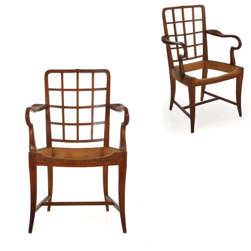 Wiener Werkstatte Polished Cherry Arm Chairs | Austria, circa 1920