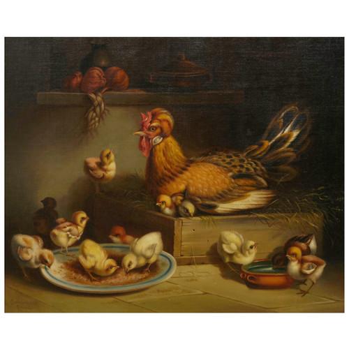 """Hen and Chicks"" (1867), oil painting   Andrea Cherubini (Italian, 1833-1905)"