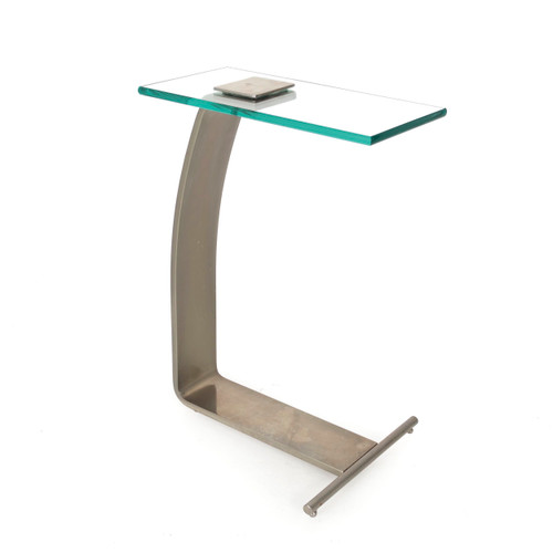Modernist Steel & Glass Cantilever Side Table | Marty Smith for Design Institute of America, circa 1980