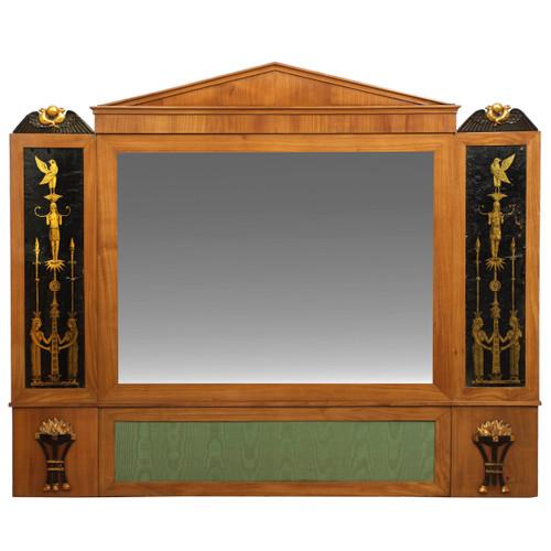 Biedermeier Fruitwood Egyptian Eglomisé Mirror | Austrian, circa 1810-20
