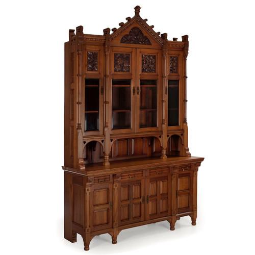 Fine Aesthetic Movement Walnut Breakfront Bookcase Cabinet