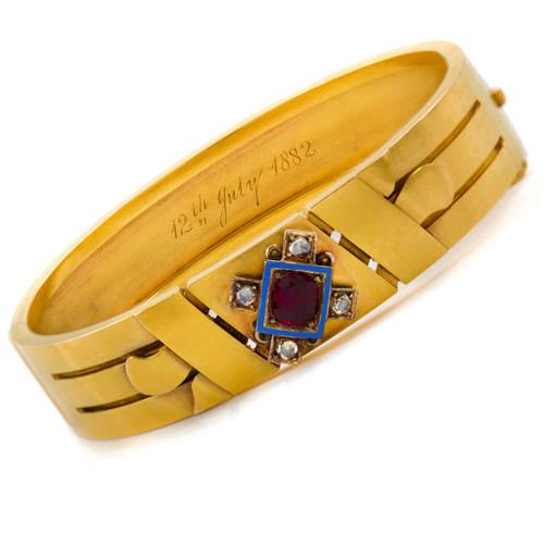 Etruscan Revival 14K Gold Bangle Bracelet circa 1882