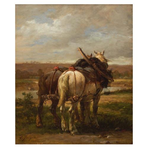 "Landscape Painting ""The Plow Horses"" by Emilé Jacque (French, 1848-1912)"