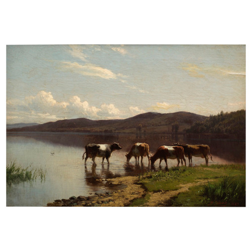 """""""Summer Landscape with Cows"""" (1883) Painting by Hermann Simon Gustave"""