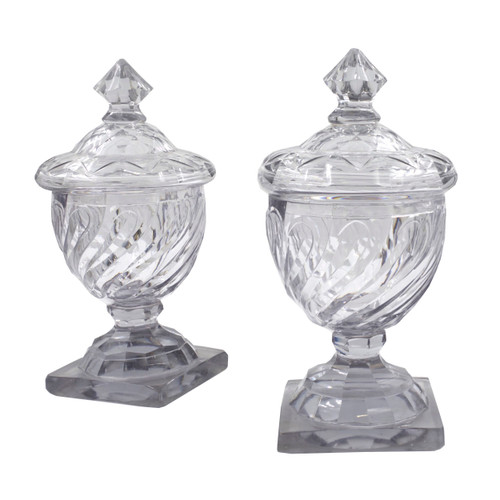 Pair of Georgian Swirled Cut Glass Urns w/ Dome Lids
