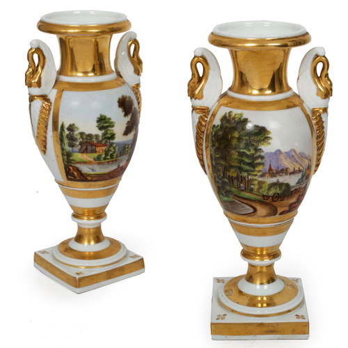 Pair of Parisian Painted Porcelain Vases, 19th Century