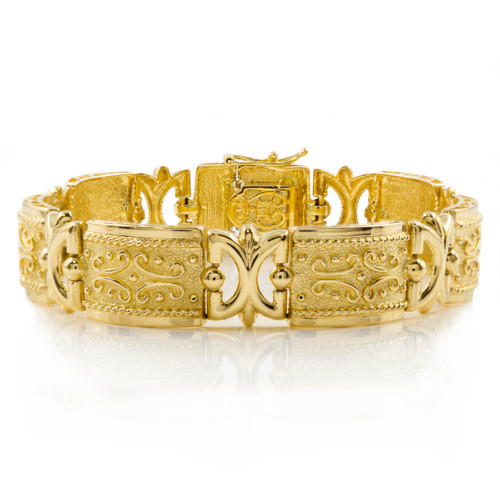 Vintage Etruscan Revival 14k Yellow Gold Flexible-Link Bracelet