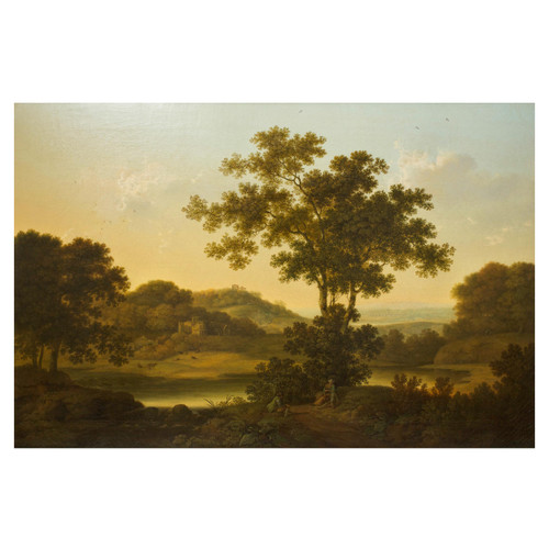 """""""Travelers Resting: A Vast Landscape with Castle Ruins"""" 