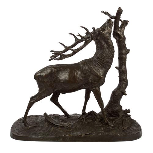 """Cerf a la branche no. 1"", bronze sculpture | Pierre Jules Mene"