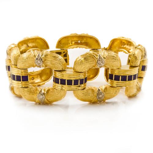Estate 18k Gold Greek Florentine Open-Link Bracelet | 85.2 grams