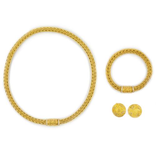 Estate LaPepita 18k Necklace, Bracelet and Earrings Suite | 116.16 g