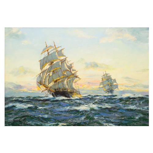 """Sunset - Far Pacific"", clipper ship ""South Australian""   Henry Scott"