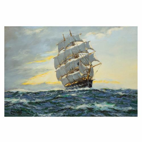 """Sunrise - North Atlantic"", clipper ship ""Harvest Queen""   Henry Scott"