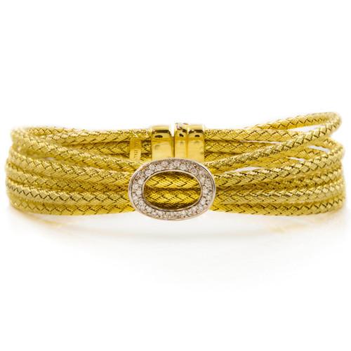 "Estate Italian 14k Yellow Gold Five-Cable Bracelet with 32 Diamonds, 6 3/4"" long"