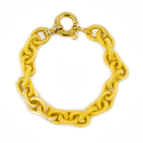"18K Yellow Gold and Diamond Open-Link Bracelet | 7 3/8"" long"