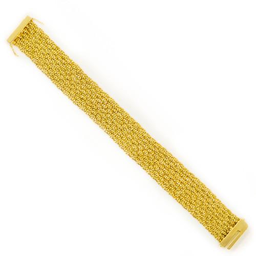 Estate 18 Karat Yellow Gold Flexible Link Strap Bracelet