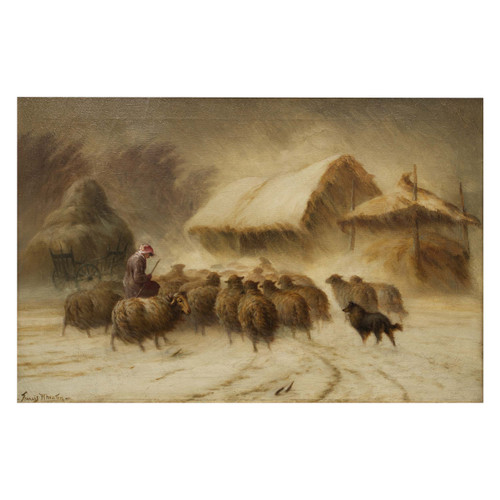 """""""Herding Sheep in the Snow"""", oil painting 