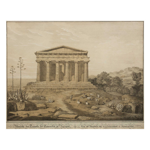 """""""A View of the Temple of Concordia, Agrigento"""", lithograph after Gaertner"""