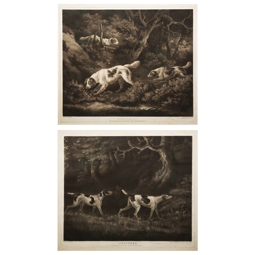 """Pair of Mezzotints """"Setters"""" & """"Pointers"""" by William Ward, publ. 1806"""