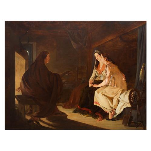 """The Fortune Teller"" | Henry Nelson O'Neil ARA (Russian/British, 1817 - 1880)"
