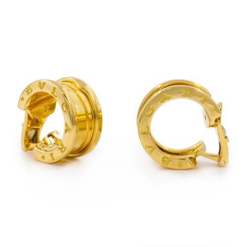 Pair of Bvlgari 18k Gold B.Zero1 Hoop Earrings