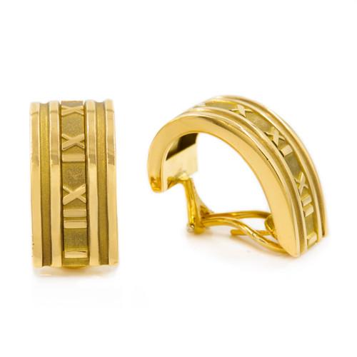 "Pair of Tiffany & Co 18k Yellow Gold ""Atlas"" Hoop Earrings"