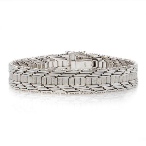 Elegant 14K White Gold Flexible-Link Strap Bracelet
