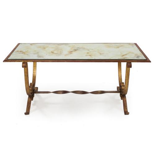 Vintage Gilded Iron Eglomisé Mirrored Cocktail Table