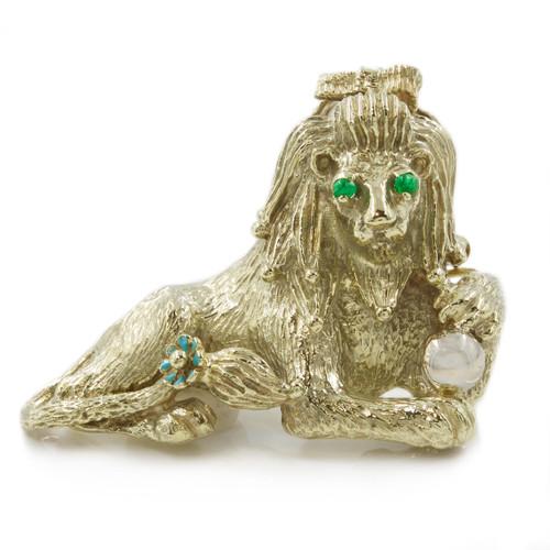 Estate 14k White Gold Figural Lion Brooch circa 1940s