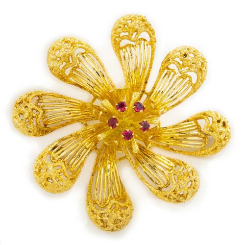 Vintage Italian 18k Yellow Gold Gemset Flower Brooch