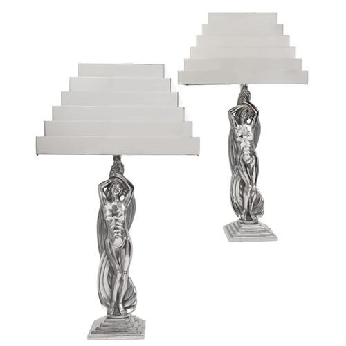 Art Deco Nickeled-Metal Figural Table Lamps circa 1930s