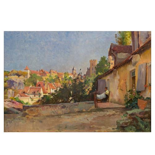 """""""Le Village Ensoleillé""""   Emile-Charles Dameron (French, 1848-1908)"""