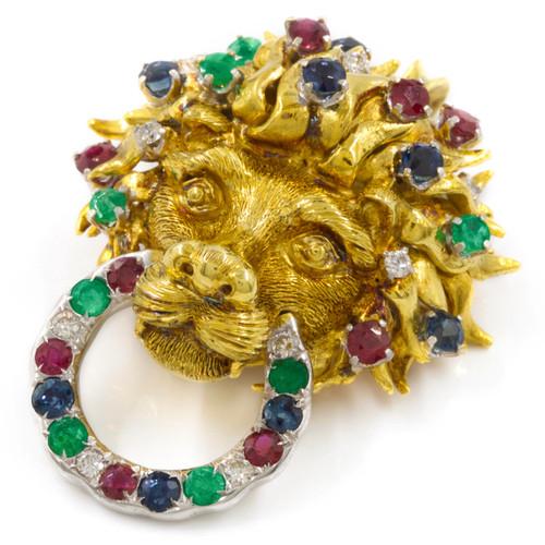 Vintage Sculpted 18k Gold and Gemset Lion Brooch or Pendant