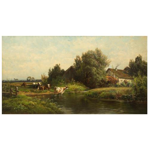 Buccolic Landscape with Cattle   Carl Weber (American, 1855-1920)