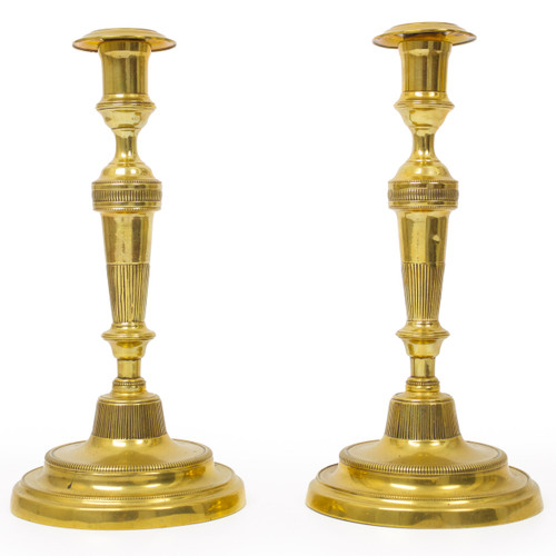 Pair of Directoire Incised Brass Candlesticks | early 19th century