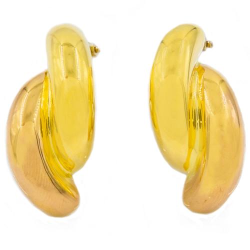 Pair of Bi-Color 18k Pink and Yellow Gold Earrings   Nicolis Cola