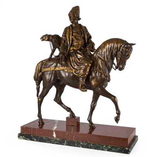 """Bronze Sculpture of """"Persian Hunter with a Cheetah"""" by Alfred Dubucand"""