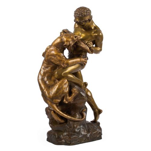Man Fighting a Tiger Bronze Sculpture by Edouard Drouot