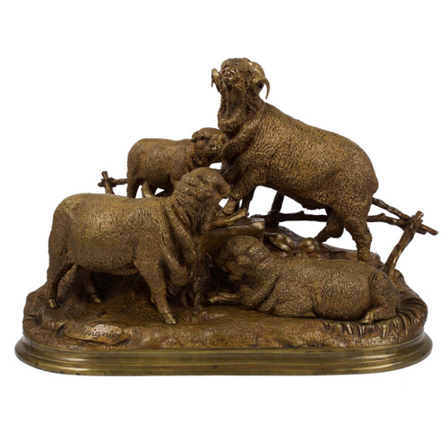 A Bronze Sculpture of a Group of Sheep by Jules Moigniez