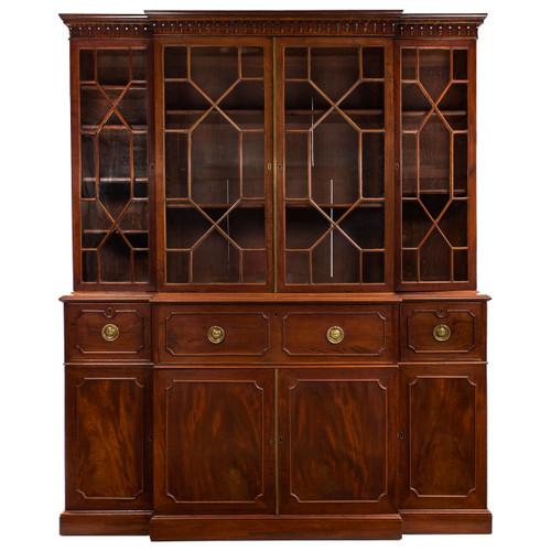 George III Style Mahogany Breakfront Bookcase Cabinet