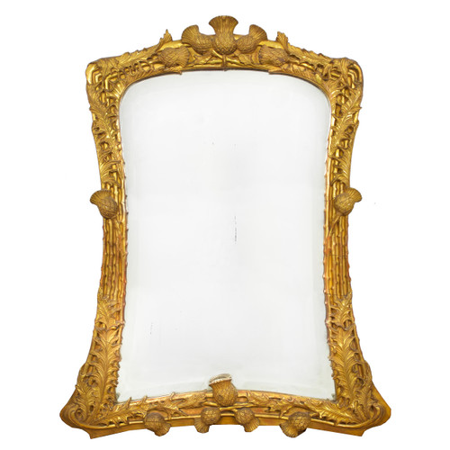 19th Century Thistle-Carved Giltwood Mirror
