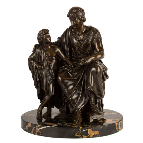 """Grand Tour Neo-Greco Bronze Group """"A Father Teaching His Son"""""""