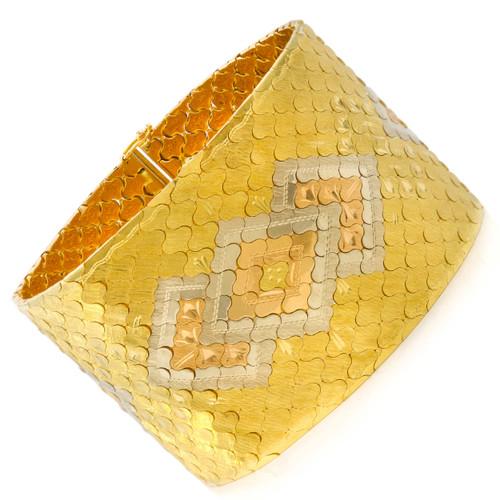 French Retro Honeycomb Geometrical Strap Bracelet circa 1950s