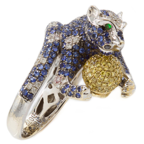 18 K Gold Sapphire and Diamond Figural Panther Ring | Size 6.5