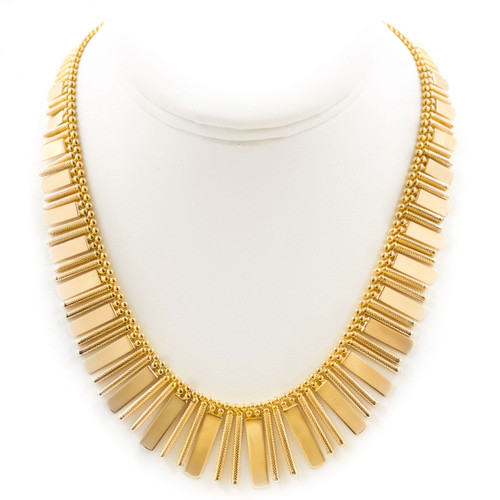 Italian 18k Yellow Gold Fringe Necklace | UNOAERRE