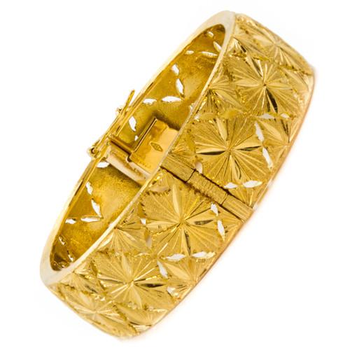 Estate 18k Yellow Gold Bright-Cut Bangle Bracelet