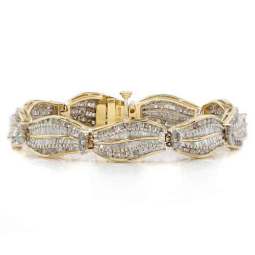 Estate 14k White and Yellow Gold Diamond Link Bracelet